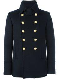 укороченное двубортное пальто Balmain