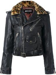 байкерская куртка с леопардовой отделкой Just Cavalli