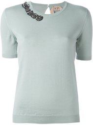 декорированная трикотажная блузка  Nº21