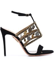 Aquazzura x Naty Abascal chain trim sandals  Aquazzura