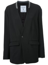 collarless blazer jacket Fad Three