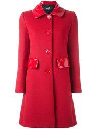 пальто с лакированной отделкой Love Moschino