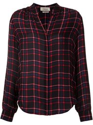 checked mandarin neck shirt L'agence