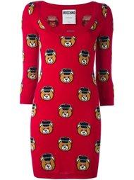 платье с принтом-интарсией плюшевых медведей Moschino