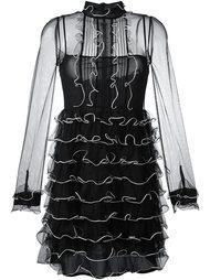 полупрозрачное платье с рюшами Red Valentino