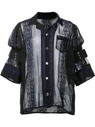 прозрачная рубашка с декорированными панелями Sacai
