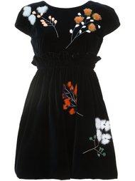 бархатное платье с отделкой мехом норки Fendi