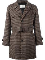 пальто с узором в ломаную клетку Saint Laurent