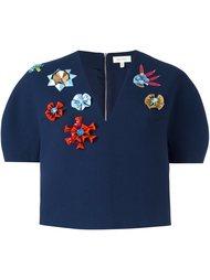 структурированный декорированный укороченный пиджак  Delpozo
