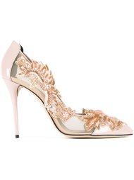 туфли-лодочки с цветочными украшениями и прозрачными панелями Oscar de la Renta