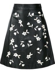 юбка с эмалированными цветочными элементами Carolina Herrera