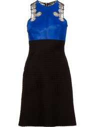 lace & pony fur bodice dress David Koma