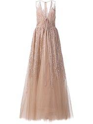 длинное платье с вышивкой и пайетками Elie Saab