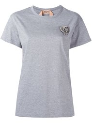 футболка с отделкой стразами Nº21
