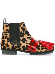 ботинки челси с леопардовым узором и кисточками House Of Holland