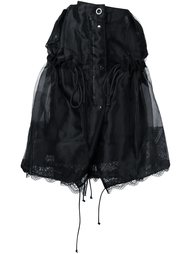 юбка со сборками и кружевной панелью Sacai