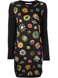платье с принтом драгоценностей Moschino