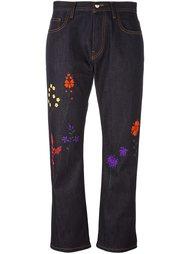 джинсы с цветочной вышивкой  Fendi