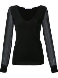 V-neck sheer longsleeves blouse Sally Lapointe