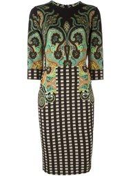 платье в клетку с узором пейсли Etro
