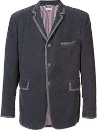 бархатный пиджак с контрастной окантовкой Thom Browne