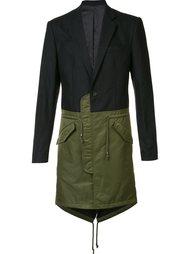 однобортное пальто колор-блок D-Gnak