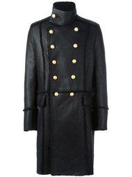 двубортное пальто из овчины Balmain