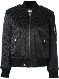 куртка-бомбер с леопардовым принтом   Saint Laurent