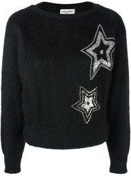 свитер с вышивкой звезд  Saint Laurent