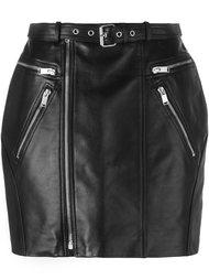 мини юбка с декоративными молниями Saint Laurent