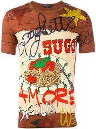 футболка с принтом спагети  Dolce & Gabbana