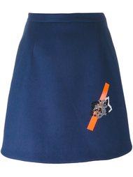 юбка с вышивкой в виде роз Christopher Kane
