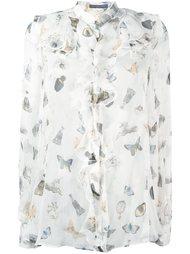 рубашка с узором и оборками Alexander McQueen