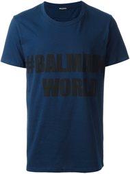 футболка с принтом '#Balmain world' Balmain