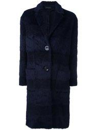 меховое пальто в полоску Piazza Sempione