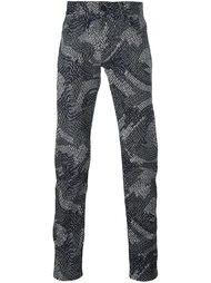 джинсы кроя слим с мелким узором Kenzo