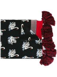 шарф с принтом лебедей и кисточками Stella McCartney