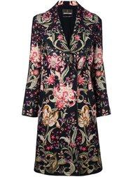 двубортное пальто с цветочным принтом   Roberto Cavalli