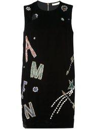 бархатное платье с логотипом Amen