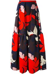 длинная юбка с цветочным принтом Delpozo