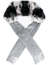 шарф с меховыми вставками  N.Peal