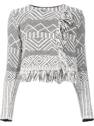 jacquard fringed cropped jacket Leo & Sage