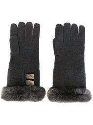 перчатки с отделкой из кроличьего меха N.Peal