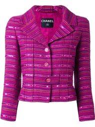 полосатый пиджак с пайетками Chanel Vintage