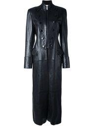 удлиненное кожаное пальто Yves Saint Laurent Vintage