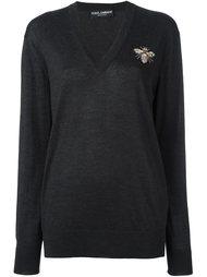 декорированный свитер с V-образным вырезом Dolce & Gabbana