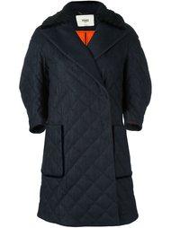джинсовое пальто с норковым воротником Fendi