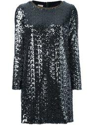 платье с длинными рукавами и эффектом металлик Nude