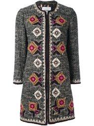 твидовое пальто с геометрической вышивкой Bazar Deluxe