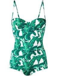 слитный купальник с лиственным принтом Dolce & Gabbana